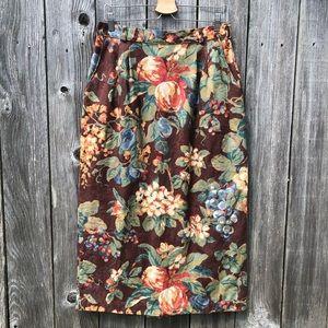 Willowbend Vintage Brown Floral Denim Pencil Skirt
